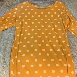 Lularoe Debbie Dress 2XL NWOT Yellow Polka Dots